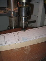 beginning of hollowing out the lifts with a forstner bit