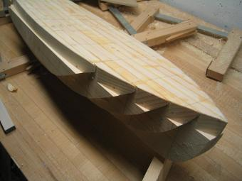 beginning the carving process with the hull