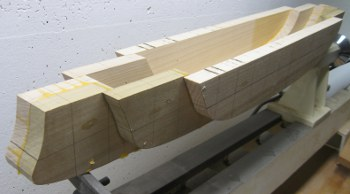 laminated model boat hull