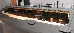 cut-away model of a confederate ironclad