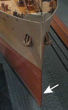 model ship with sharp entry