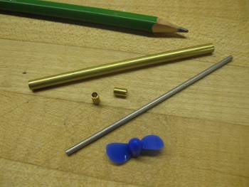model boat propeller shaft components