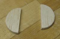 balsa disc cut in half