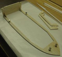 first dry-fit of chine shelf, transom and two knees