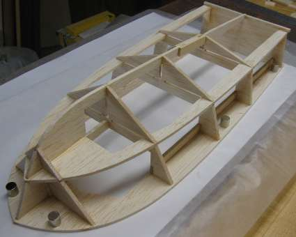 photo of rc boat hull upside-down with all lower bulkheads