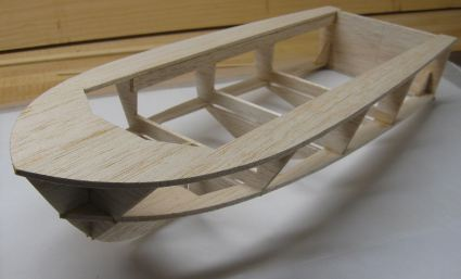 photo of rc boat hull frame right-side-up
