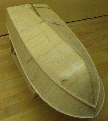 rc boat hull with spray rails in place