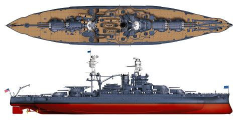 uss arizona model rendering as she appeared at pearl harbor in 1941