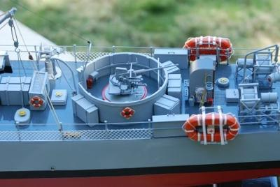 Detail shot of the gun on main deck.