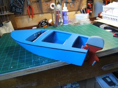 The finished Carvelle Minor motor boat