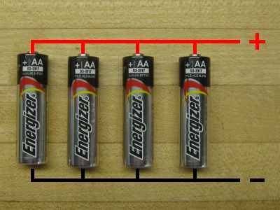 Figure 2) Batteries in parallel - The capacity is extended four times that of a single cell. The voltage is the same as for one battery.