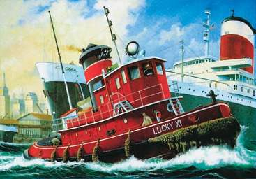 Revell Harbour Tug Boat box art.