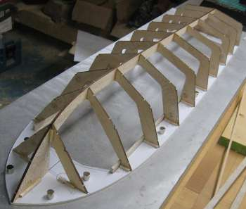 model boat hard chine hull frame