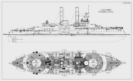 uss iowa bb4 pre dreadnought plans