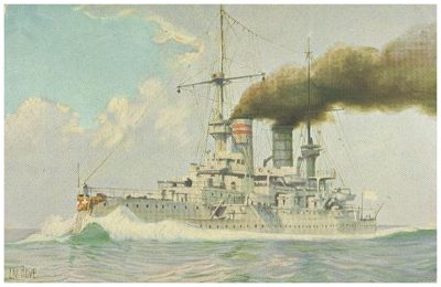german pre dreadnought kaiser barbarossa from postcard