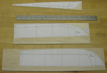 examples of templates placed on balsa sheets