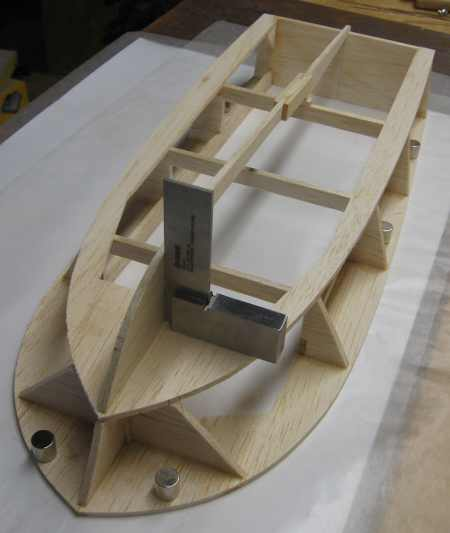 dry-fitting the keel