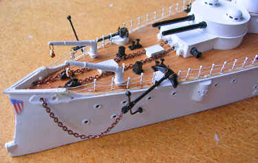 weather deck with anchors, cranes and capstans finished ,detail photo