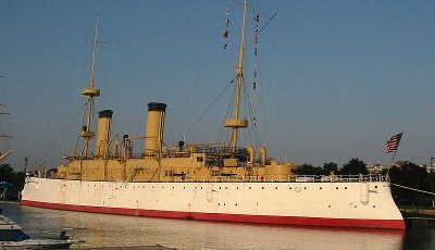 uss olympia protected cruiser c-6, photo of the real ship moored in Philadelphia, PA as museum